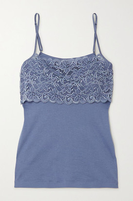 Hanro Lace-trimmed Cotton-jersey Camisole - Blue