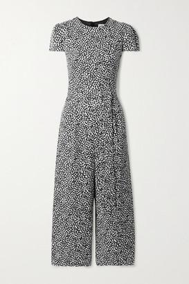 MICHAEL Michael Kors Belted Printed Twill Jumpsuit - Black