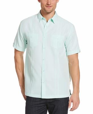 Cubavera Men's Two-Pocket Double Pintuck Short Sleeve Button-Down Shirt