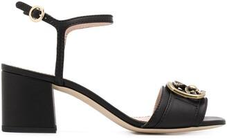 Etro pegaso logo mid-heel sandals