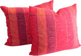 One Kings Lane Vintage Red Plaid Pillows, Pair