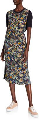 Tory Burch Printed Short-Sleeve Sweater Dress