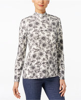 Karen Scott Petite Printed Mock-Neck Top, Only at Macy's