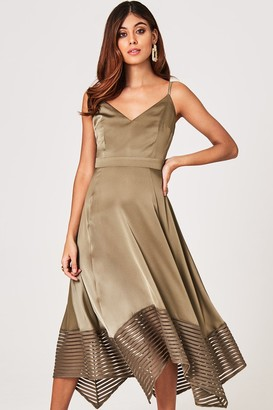 Little Mistress Laurie Khaki Satin Midaxi Dress