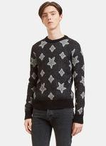 Saint Laurent Men's Star Mohair Crew Neck Sweater In Grey