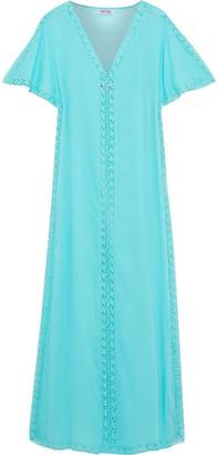 Charo Ruiz Ibiza Crochet-trimmed Cotton-blend Voile Maxi Dress