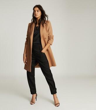 Reiss Evie - Wool Blend Mid Length Overcoat in Camel
