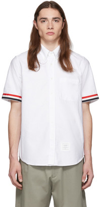 Thom Browne White Grosgrain Cuff Straight Fit Shirt