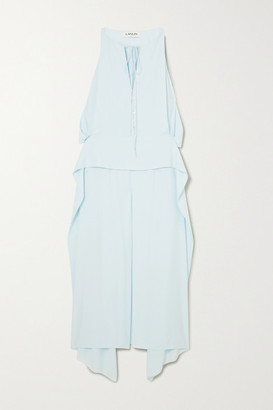 Lanvin Cutout Draped Crepe De Chine Midi Dress - Blue
