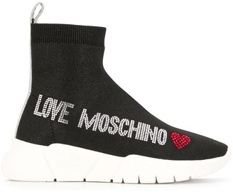 Love Moschino embellished lurex sneaker boots