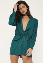 Missguided Green Satin Wrap Playsuit