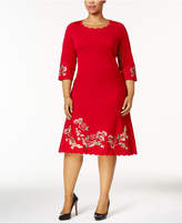 Charter Club Plus Size Embroidered Scallop-Hem Sweater Dress, Created for Macy's