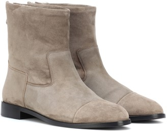 Bougeotte Exclusive to Mytheresa a Suede and shearling ankle boots