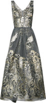 Marchesa metallic floral dress - women - Nylon - 6
