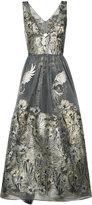 Marchesa metallic floral dress