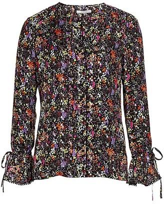 Derek Lam 10 Crosby Lurex Floral Silk-Blend Bell-Sleeve Top