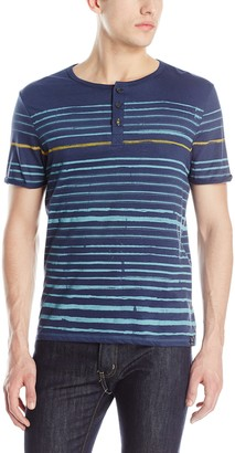 Buffalo David Bitton Men's Nifun Short-Sleeve Reverse Stripe Henley
