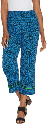 Linea by Louis Dell'Olio Petite Printed Crop Pull-On Pants