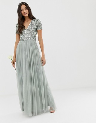 Maya Bridesmaid v neck maxi tulle dress with tonal delicate sequins in sage green