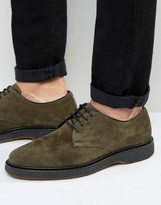 Asos Derby Shoe In Khaki Suede