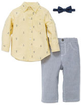 Little Me Baby Boys Three-Piece Cotton Shirt, Bow Tie and Pants Set