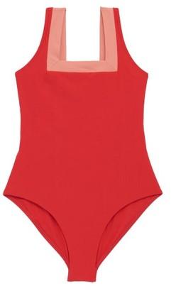 Casa Raki - Marina Square-neck Two-tone Swimsuit - Red Multi