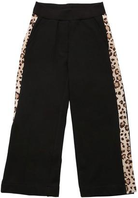 MonnaLisa Cotton Sweatpants W/leopard Print Bands