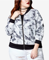 mblm by Tess Holliday Trendy Plus Size Printed Mesh Bomber Jacket