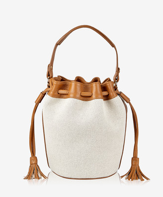 GiGi New York Genevieve Bucket Bag, Italian Canvas with Camel Calfskin Leather