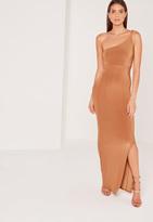 Missguided Plait Strap One Shoulder Slinky Maxi Dress Tan