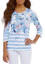 Allison Daley Petites Embellished Detail Crew Neck Multi Print Knit Top