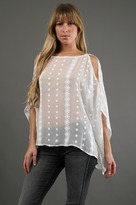 Zoa Crinkle Embroidered Poncho in White