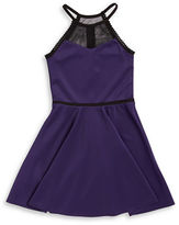 Sally Miller Girls 7-16 Mesh Accented Fit-and-Flare Dress