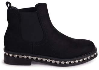 Linzi Layna - Black Suede Pull On Chelsea Boot With Diamante Trim Around Sole
