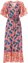 M.A.B.E - Red & Blue Floral Print Tiered Regina Frill Wrap Dress - Small (UK 10) | cotton | red | blue white - Red/Red