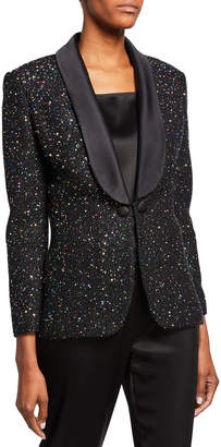 St. John Confettin Sequin Jacket with Duchess Satin Shawl Collar