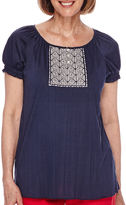Sag Harbor American Dream Short-Sleeve Embroidered-Yoke Top