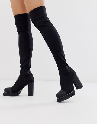 Public Desire Critic chunky platform over the knee boots in black
