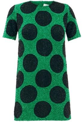 Ashish Polka-dot Sequinned Cotton Mini Dress - Black Green