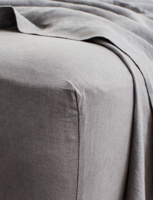 Lulu & Georgia Cultiver Linen Bedding, Charcoal Gray Fitted Sheet