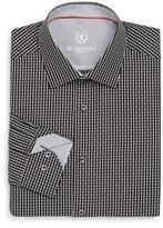 Bugatchi Shaped-Fit Mini Check Cotton Dress Shirt