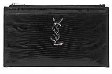 Saint Laurent Women's Monogram Croc-Embossed Leather Zip Pouch
