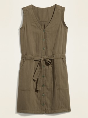 Old Navy Waist-Defined Tie-Belt Sleeveless Utility Dress for Women