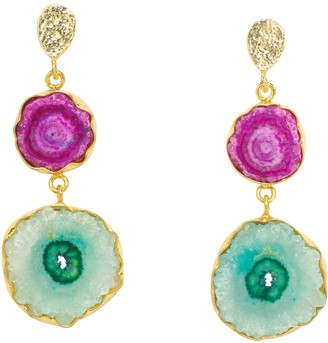 Yaa Yaa London 'So Solar' Violet Turquoise Gold Statement Gemstone Earrings