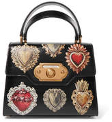 Dolce & Gabbana Welcome Small Printed Lizard-effect Leather Tote - Black
