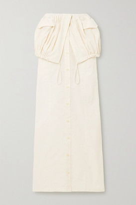 Jacquemus Cueillette Layered Gathered Poplin Maxi Skirt - White