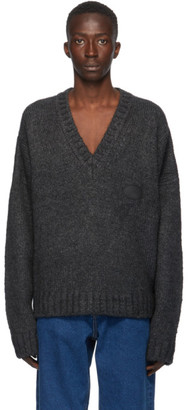 we11done Grey Mohair Oversized Sweater