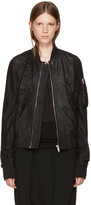 Rick Owens Black Leather Flight Bomber Jacket