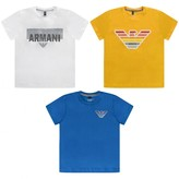 Armani Junior Armani JuniorBoys White Blue & Yellow Tops Set (3 Pack)