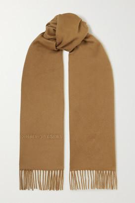 Bottega Veneta Logo-embossed Fringed Cashmere Scarf - Camel